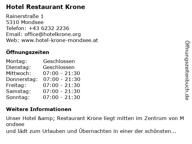 Hotel Restaurant Krone in Mondsee: Adresse und Öffnungszeiten