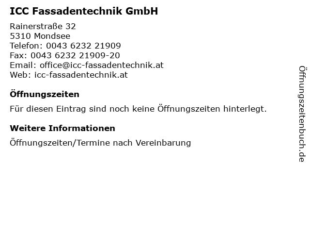 ICC Fassadentechnik GmbH in Mondsee: Adresse und Öffnungszeiten