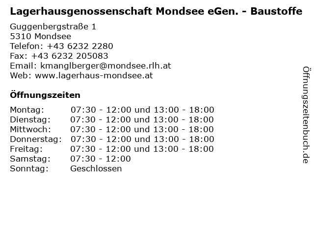 Lagerhausgenossenschaft Mondsee eGen. - Baustoffe in Mondsee: Adresse und Öffnungszeiten