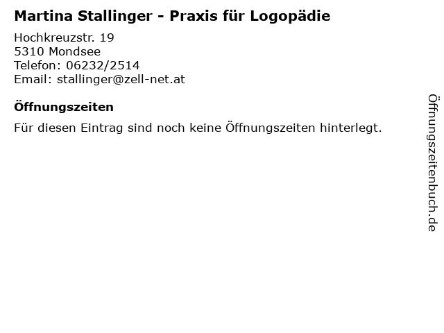 Martina Stallinger - Praxis für Logopädie in Mondsee: Adresse und Öffnungszeiten