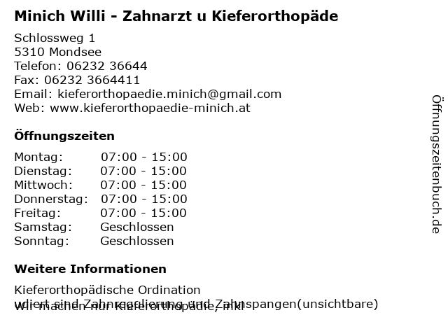 Minich Willi - Zahnarzt u Kieferorthopäde in Mondsee: Adresse und Öffnungszeiten