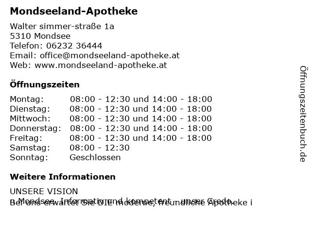 Mondseeland-Apotheke in Mondsee: Adresse und Öffnungszeiten