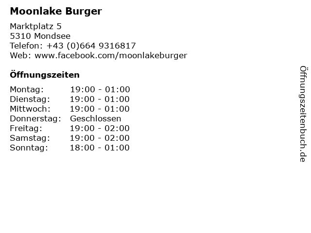 Moonlake Burger in Mondsee: Adresse und Öffnungszeiten