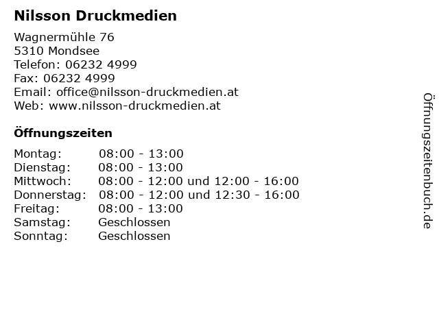 Nilsson Druckmedien in Mondsee: Adresse und Öffnungszeiten