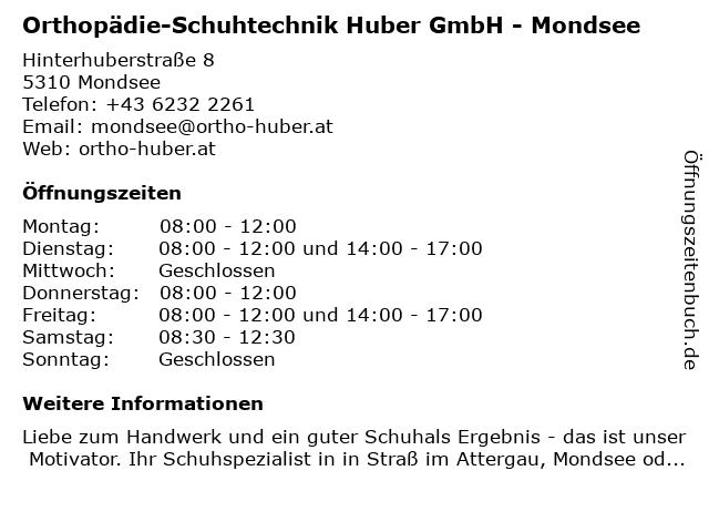 Orthopädie & Schuhtechnik - Huber in Mondsee: Adresse und Öffnungszeiten