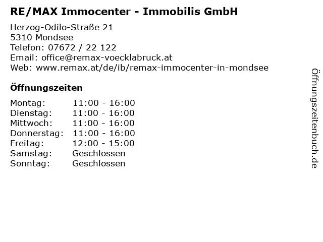 RE/MAX Immocenter - Immobilis GmbH in Mondsee: Adresse und Öffnungszeiten
