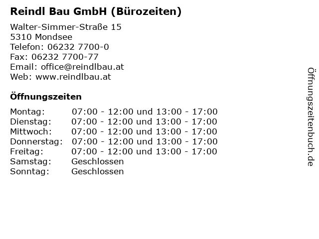 Reindl Bau GmbH (Bürozeiten) in Mondsee: Adresse und Öffnungszeiten