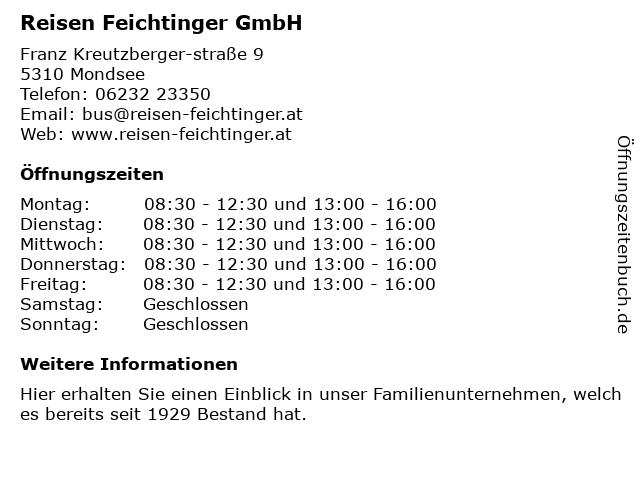 Busreisen Feichtinger GesmbH in Mondsee: Adresse und Öffnungszeiten