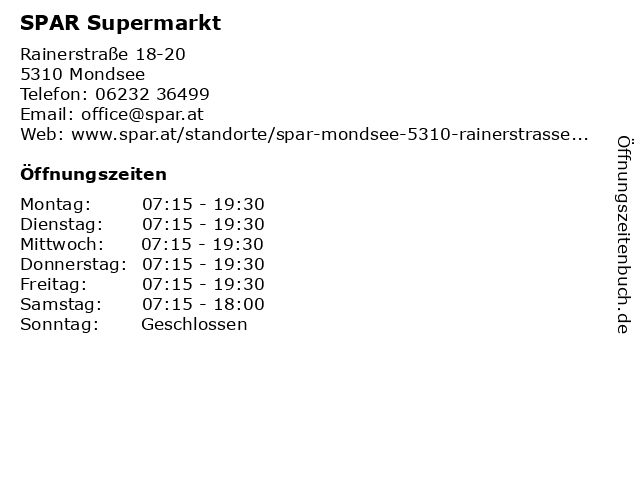 SPAR Supermarkt in Mondsee: Adresse und Öffnungszeiten