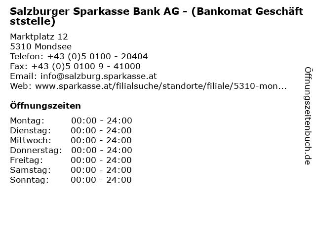 Salzburger Sparkasse Bank AG - (Bankomat Geschäftststelle) in Mondsee: Adresse und Öffnungszeiten