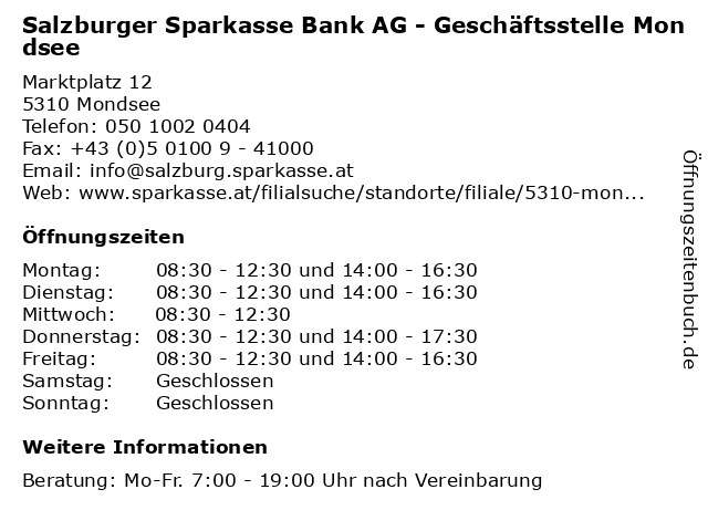 Salzburger Sparkasse Bank AG - Geschäftsstelle Mondsee in Mondsee: Adresse und Öffnungszeiten