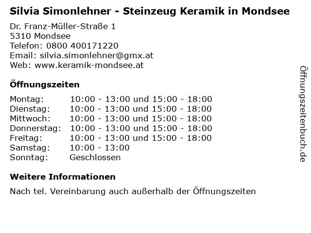Silvia Simonlehner - Steinzeug Keramik in Mondsee in Mondsee: Adresse und Öffnungszeiten