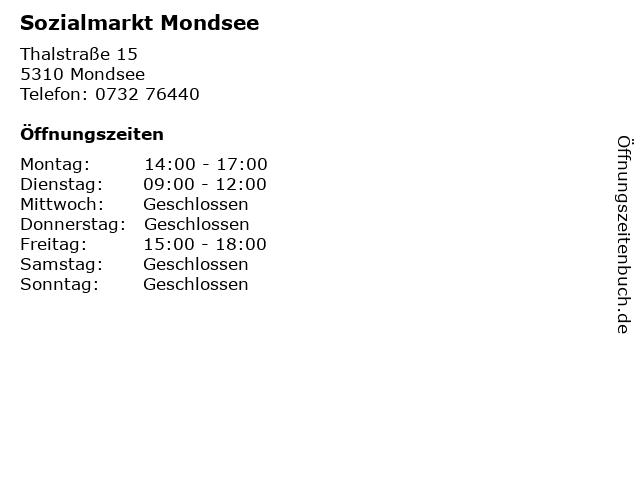 Sozialmarkt Mondsee in Mondsee: Adresse und Öffnungszeiten