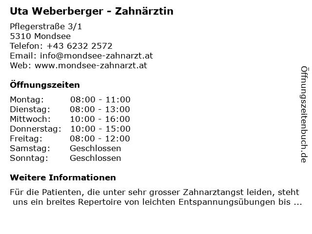 Uta Weberberger - Zahnärztin in Mondsee: Adresse und Öffnungszeiten