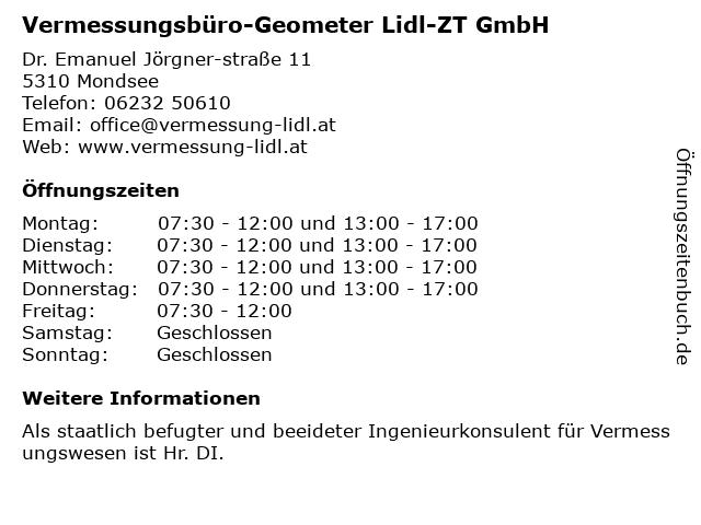 Vermessungsbüro-Geometer Lidl-ZT GmbH in Mondsee: Adresse und Öffnungszeiten