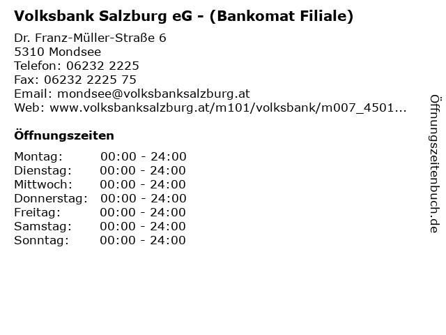 Volksbank Salzburg eG - (Bankomat Filiale) in Mondsee: Adresse und Öffnungszeiten