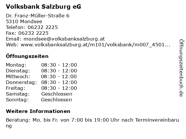 Volksbank Salzburg eG - Filiale Mondsee in Mondsee: Adresse und Öffnungszeiten