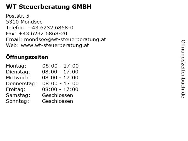 WT Steuerberatung GMBH in Mondsee: Adresse und Öffnungszeiten