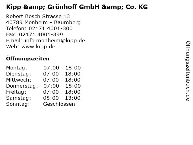Kipp & Grünhoff GmbH & Co. KG in Monheim - Baumberg: Adresse und Öffnungszeiten