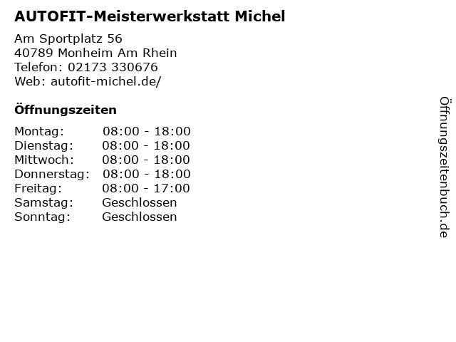 AUTOFIT-Meisterwerkstatt Michel in Monheim Am Rhein: Adresse und Öffnungszeiten