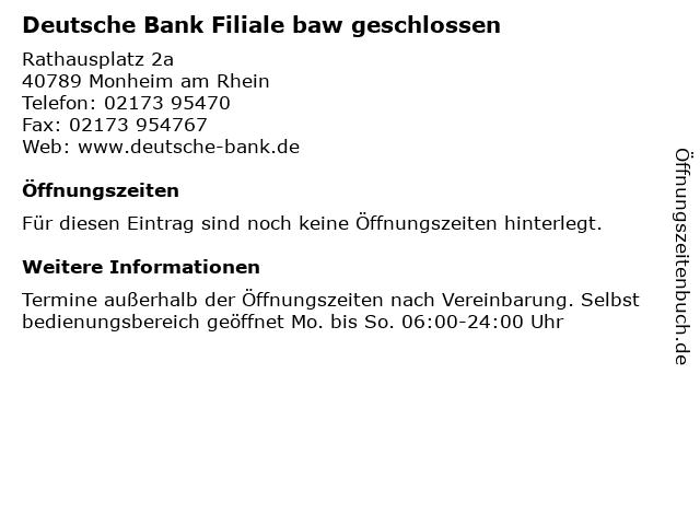 Deutsche Bank Filiale in Monheim am Rhein: Adresse und Öffnungszeiten