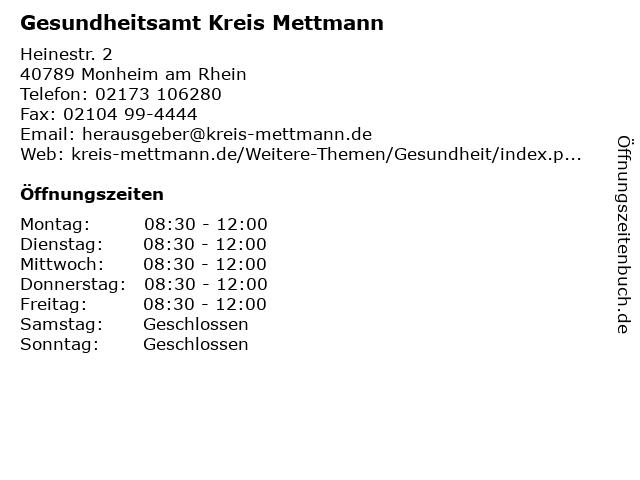 Gesundheitsamt Kreis Mettmann in Monheim am Rhein: Adresse und Öffnungszeiten