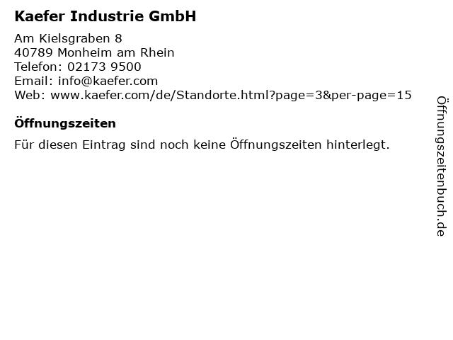 Kaefer Industrie GmbH in Monheim am Rhein: Adresse und Öffnungszeiten