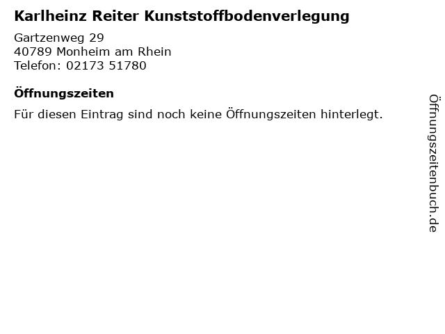 Karlheinz Reiter Kunststoffbodenverlegung in Monheim am Rhein: Adresse und Öffnungszeiten