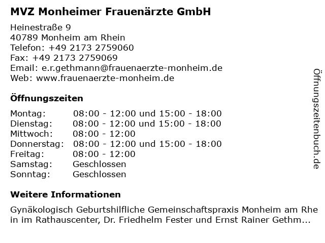 Gemeinschaftspraxis Monheimer Frauenärzte , Dr Friedhelm Fester, Ernst Rainer Gethmann in Monheim am Rhein: Adresse und Öffnungszeiten