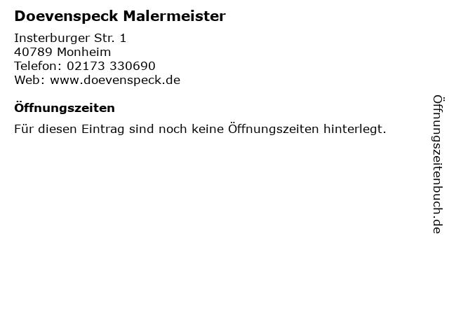 Malermeister Heinz-Georg Doevenspeck - Zweigniederlassung & Büro in Monheim am Rhein: Adresse und Öffnungszeiten