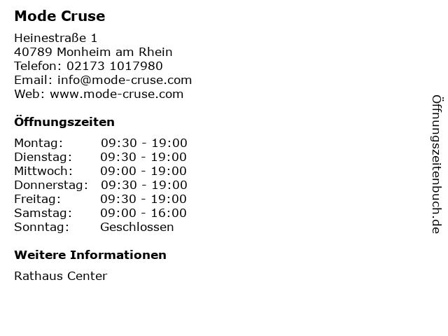 Mode Cruse in Monheim am Rhein: Adresse und Öffnungszeiten