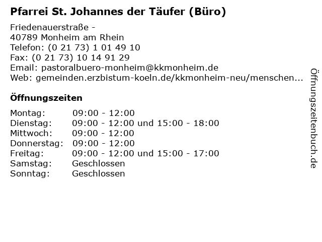 Pfarrei St. Johannes der Täufer (Büro) in Monheim am Rhein: Adresse und Öffnungszeiten