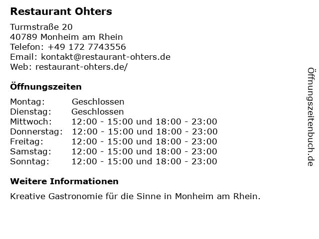 Restaurant Ohters in Monheim am Rhein: Adresse und Öffnungszeiten