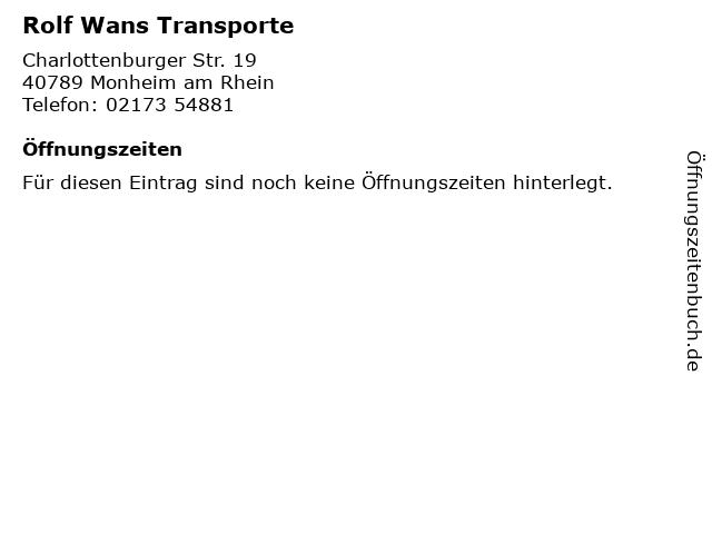 Rolf Wans Transporte in Monheim am Rhein: Adresse und Öffnungszeiten