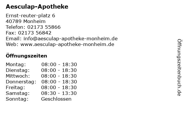 Aesculap-Apotheke in Monheim: Adresse und Öffnungszeiten