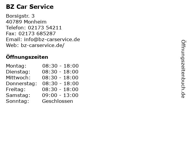 BZ Car Service in Monheim: Adresse und Öffnungszeiten