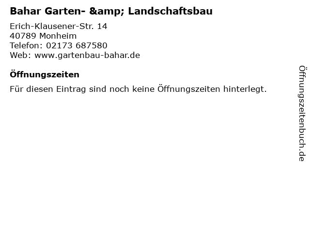 Bahar Garten- & Landschaftsbau in Monheim: Adresse und Öffnungszeiten
