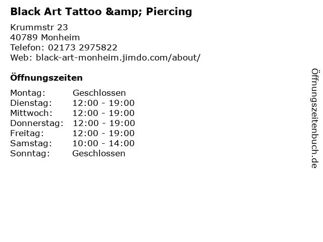 Black Art Tattoo & Piercing in Monheim: Adresse und Öffnungszeiten