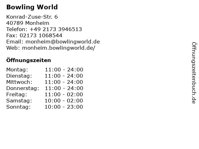Bowling World in Monheim: Adresse und Öffnungszeiten