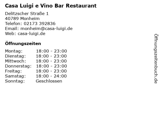 Casa Luigi e Vino Bar Monheim am Rhein in Monheim: Adresse und Öffnungszeiten