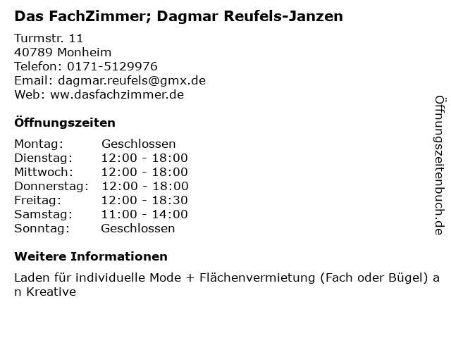 Das FachZimmer; Dagmar Reufels-Janzen in Monheim: Adresse und Öffnungszeiten