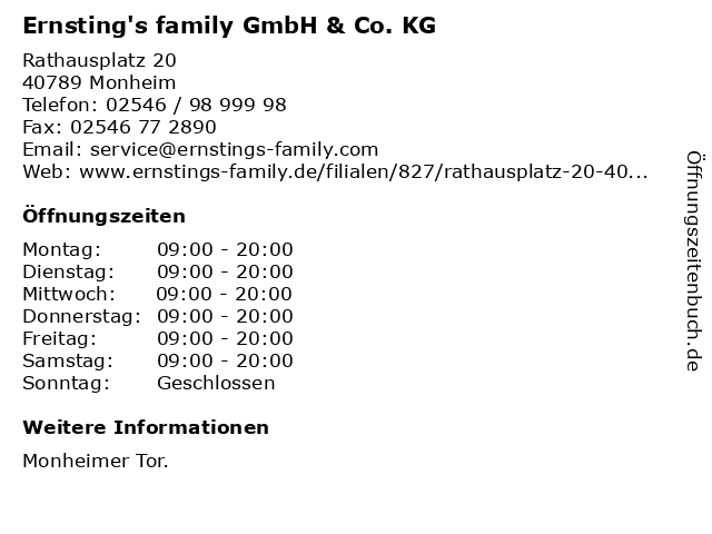 Ernsting's family GmbH & Co. KG in Monheim: Adresse und Öffnungszeiten