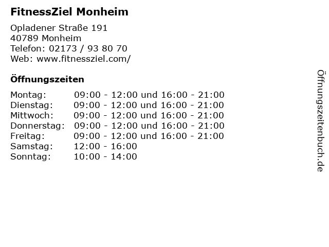 FitnessZiel Monheim in Monheim: Adresse und Öffnungszeiten