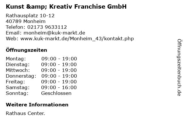 Kunst & Kreativ Franchise GmbH in Monheim: Adresse und Öffnungszeiten