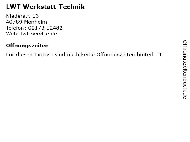 LWT Werkstatt-Technik in Monheim: Adresse und Öffnungszeiten