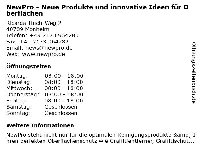 NewPro - Neue Produkte und innovative Ideen für Oberflächen in Monheim: Adresse und Öffnungszeiten