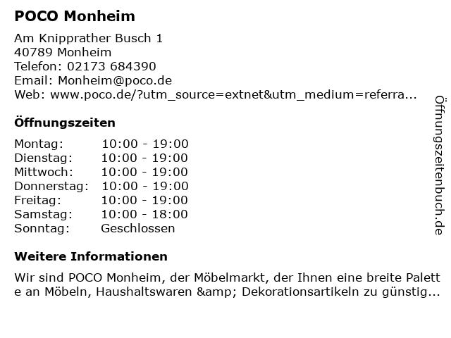 POCO Einrichtungsmarkt Monheim in Monheim: Adresse und Öffnungszeiten