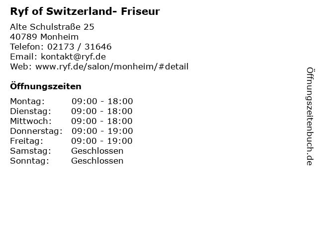Ryf of Switzerland- Friseur in Monheim: Adresse und Öffnungszeiten