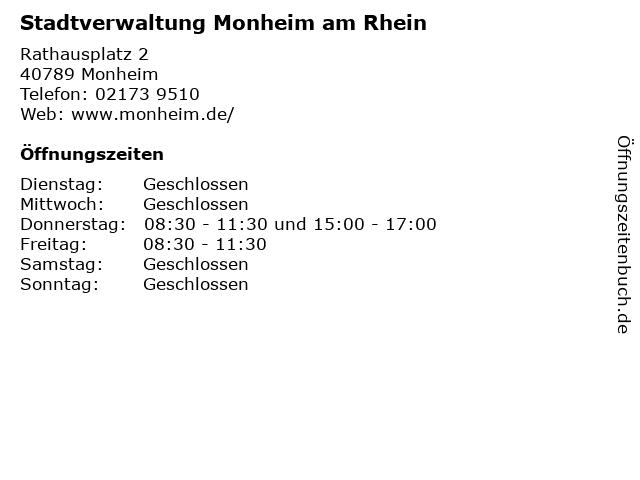 Stadtverwaltung Monheim am Rhein in Monheim: Adresse und Öffnungszeiten