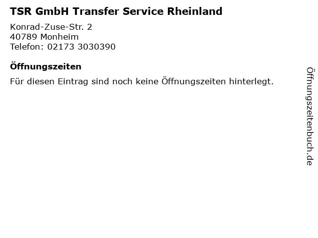 TSR GmbH Transfer Service Rheinland in Monheim: Adresse und Öffnungszeiten